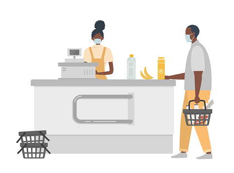 Supermarket cashier during coronovirus epidemic. Young black woman in a medical mask stands behind a cash register. Customer is also wearing a protective mask