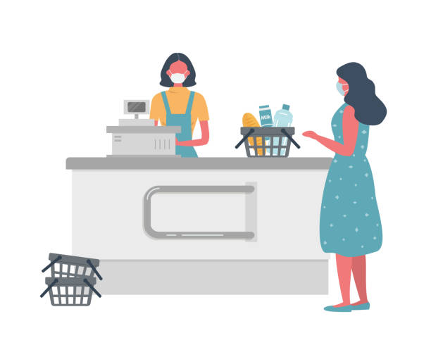 Supermarket cashier web banner during coronovirus epidemic. Young woman in a medical mask stands behind a cash register. Customer is also wearing a protective mask vector art illustration