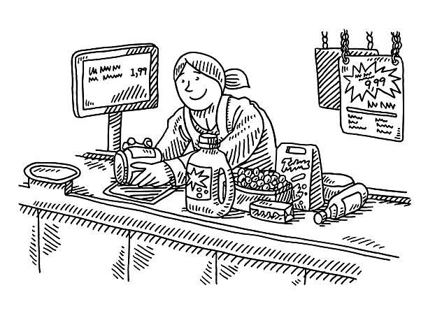 スーパーマーケットチェックアウトカウンター女性の描出 - 小売販売員点のイラスト素材/クリップアート素材/マンガ素材/アイコン素材