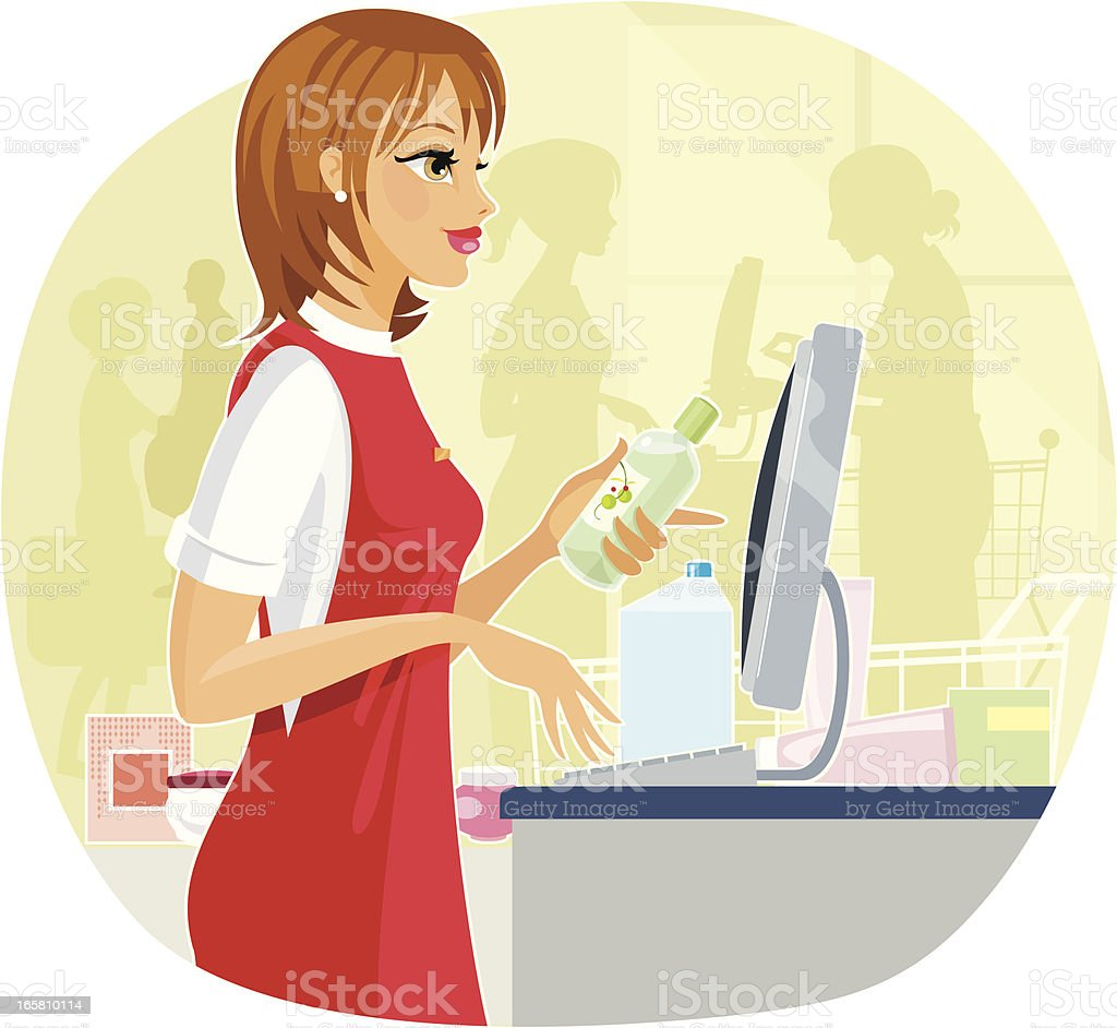 Supermarket Check-out line royalty-free stock vector art