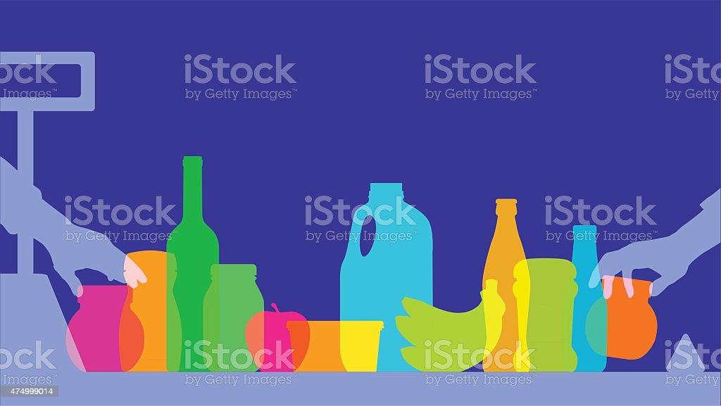 Supermarket Checkout silhouette vector art illustration