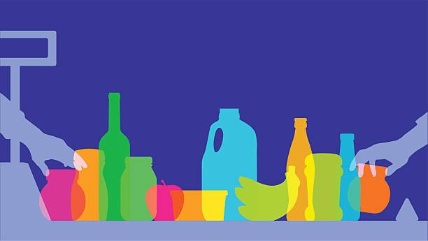illustrazioni stock, clip art, cartoni animati e icone di tendenza di supermercato silhouette di pagamento - banchi di pesci