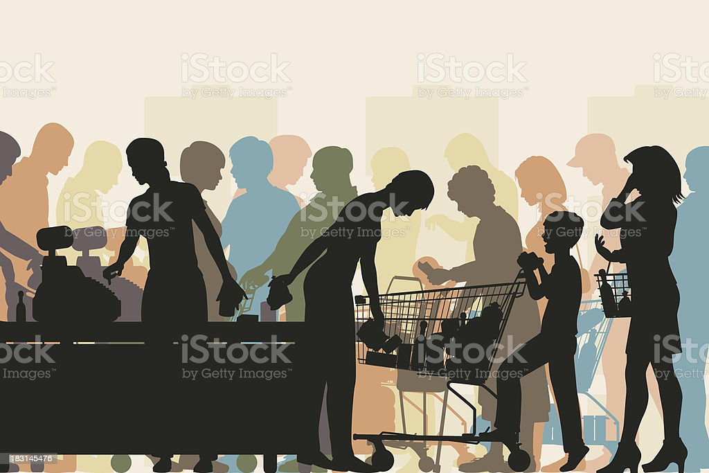 Supermarket checkout vector art illustration