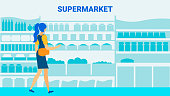 Supermarket Client Flat Vector Banner Template. Cartoon Woman, Girl Choosing Food on Shelves. Grocery Store Assortment Silhouette Illustrations. Fresh Vegetable, Canned Products Purchase