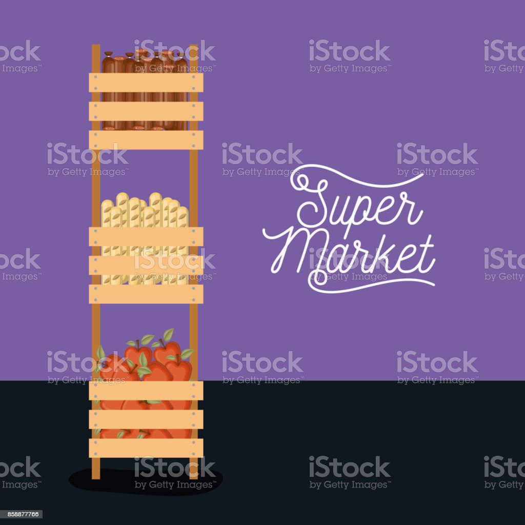 Supermarket Colorful Poster Design With Tall Three Levels Shelf With