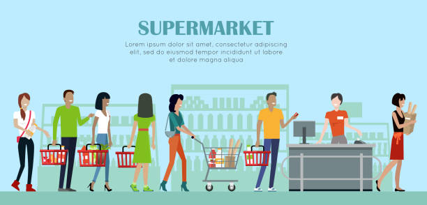 Supermarket Concept Banner in Flat Style Design. Supermarket concept vector banner. Flat style. Shopping in grocery store. Smiling cashier woman serves buyers on counter desk equipment in mall. Picture for retail companies ad, web page design. grocery store stock illustrations