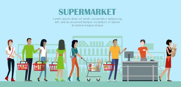ilustraciones, imágenes clip art, dibujos animados e iconos de stock de bandera conceptual de supermercado en diseño de estilo plano. - grocery store