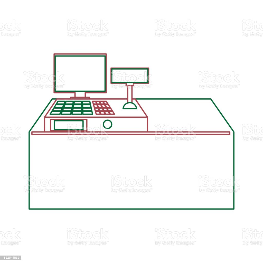 supermarket counter icon vector art illustration