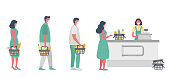istock Supermarket during the coronavirus epidemic. Supermarket cashier in medical mask. Buyers wearing antivirus masks keep their distance in line to stay safev 1217648476