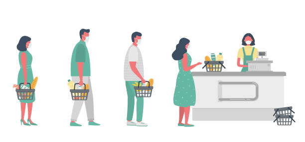 Supermarket during the coronavirus epidemic. Supermarket cashier in medical mask. Buyers wearing antivirus masks keep their distance in line to stay safev vector art illustration