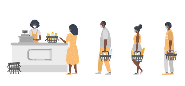 Supermarket during the coronavirus epidemic. Supermarket cashier in medical mask. Buyers wearing antivirus masks keep their distance in line to stay safe vector art illustration