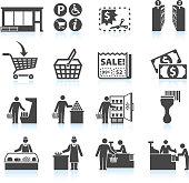Supermarket Experience black & white icon set