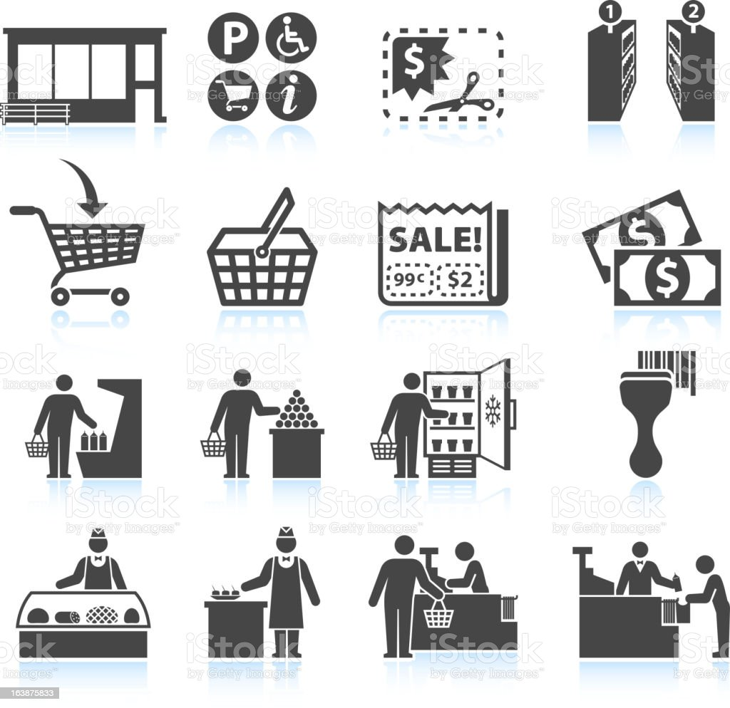 Supermarket Experience and grocery Shopping royalty free vector icon set vector art illustration