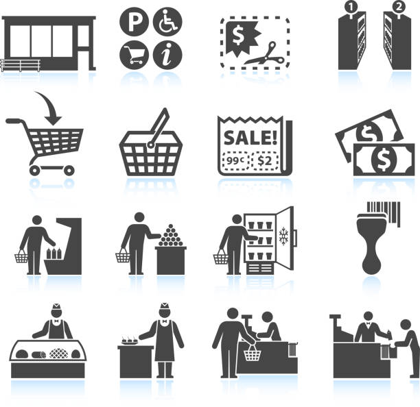 Supermarket Experience and grocery Shopping royalty free vector icon set Supermarket Experience black & white icon set  grocery aisle stock illustrations
