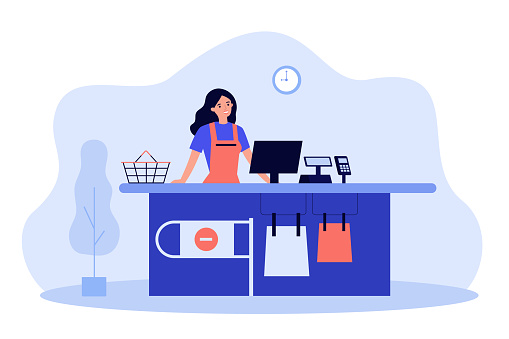 Supermarket female cashier working at checkout