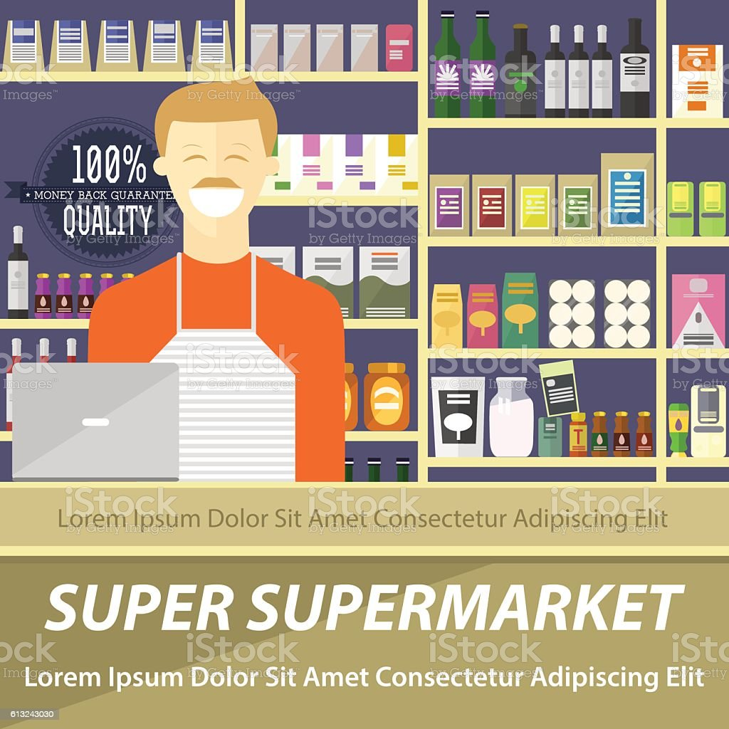 Supermarket flat design layout, vector illustration of store and seller vector art illustration