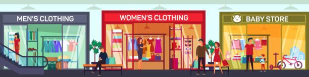 stockillustraties, clipart, cartoons en iconen met supermarkt vloer met kleding shop, babywinkel - warenhuis