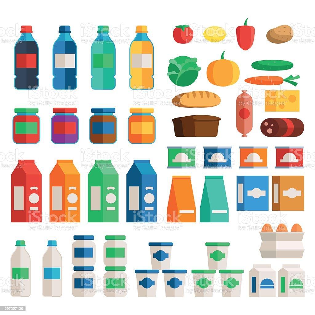 Supermarket food set vector art illustration