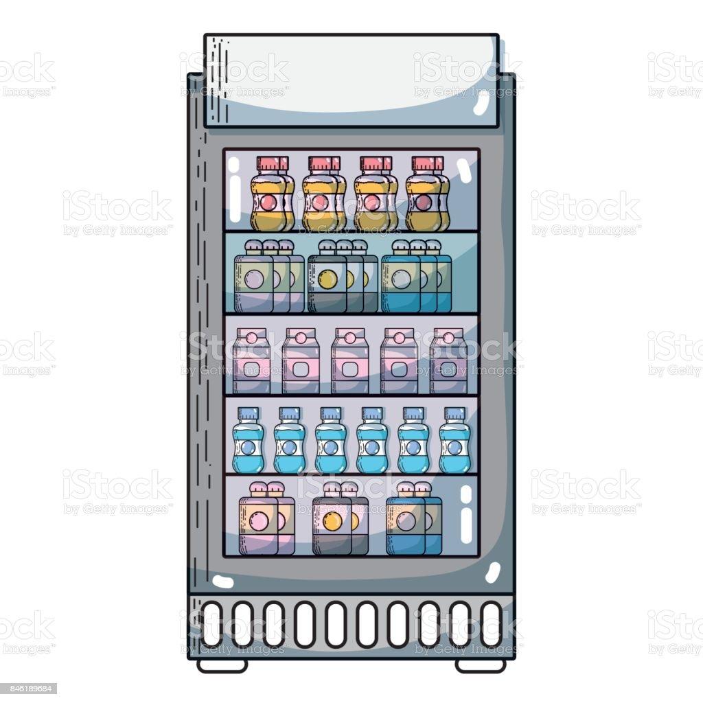 Supermarkt Kühlschrank Mit Frische Getränke Getränke Vektor ...