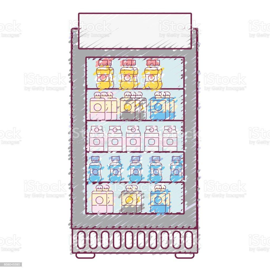 Supermarkt Kühlschrank Mit Frische Getränke Getränke Stock Vektor ...