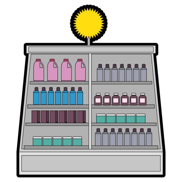 bildbanksillustrationer, clip art samt tecknat material och ikoner med stormarknad kylskåp med produkter - dagligvaruhandel, hylla, bakgrund, blurred