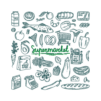 Supermarket grocery doodle set. Grocery outline collection with food, card, register, fruits and vegetables. Vector illustration