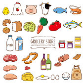 istock Supermarket grocery hand drawn colorful illustrations 1186911982