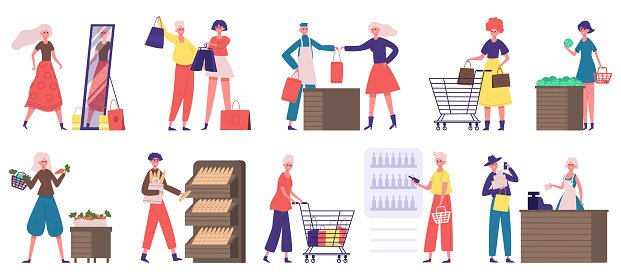 Supermarket grocery shopping. Buyers in grocery store or supermarket, food market shopping. People doing grocery purchases vector illustration set