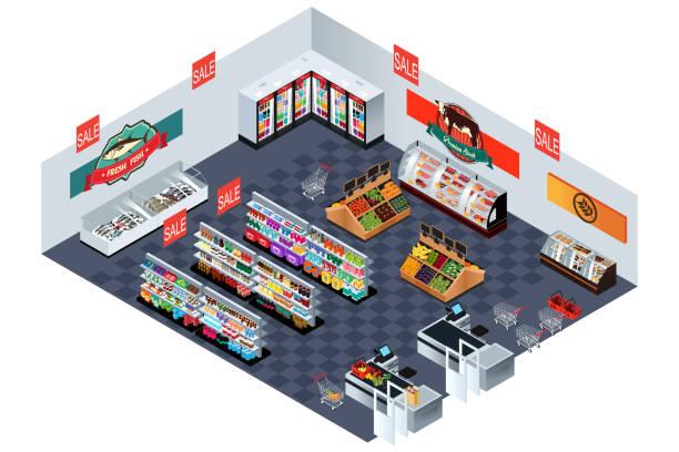 illustrazioni stock, clip art, cartoni animati e icone di tendenza di negozio di alimentari al supermercato in illustrazione isometrica - banchi di pesci