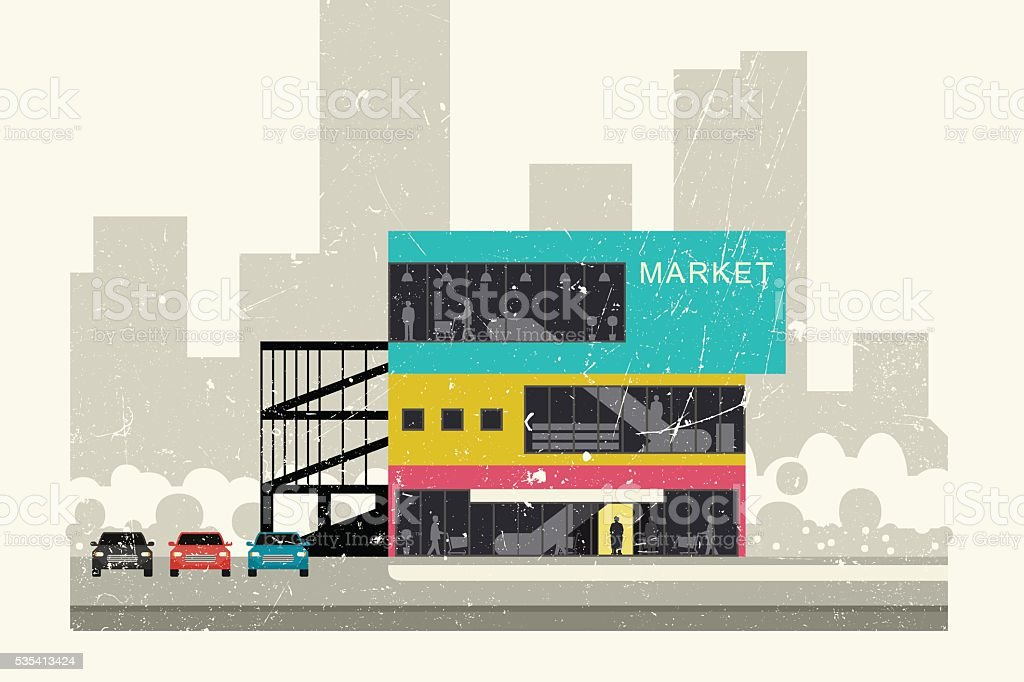 Supermarket grunge illustration. vector art illustration