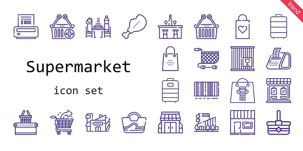 supermarket icon set. line icon style. supermarket related icons such as basket, stores, mall, bag, bill, e commerce, store, crate, upermarket, trolley, supermarket, shopping bag, pierrade, bar, shopping cart, receipt