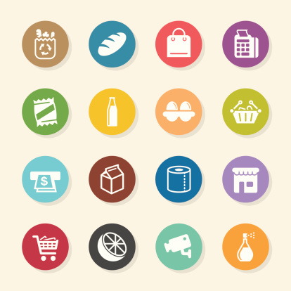 Supermarket Icons - Color Circle Series