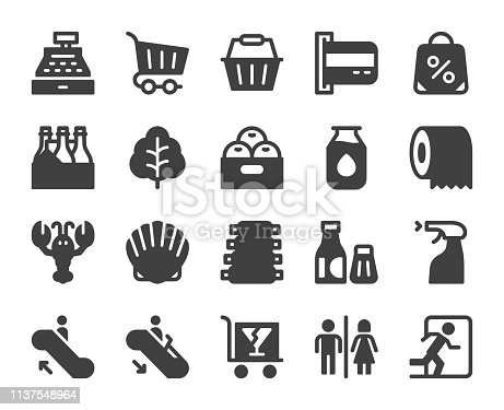 Supermarket Icons Vector EPS File.