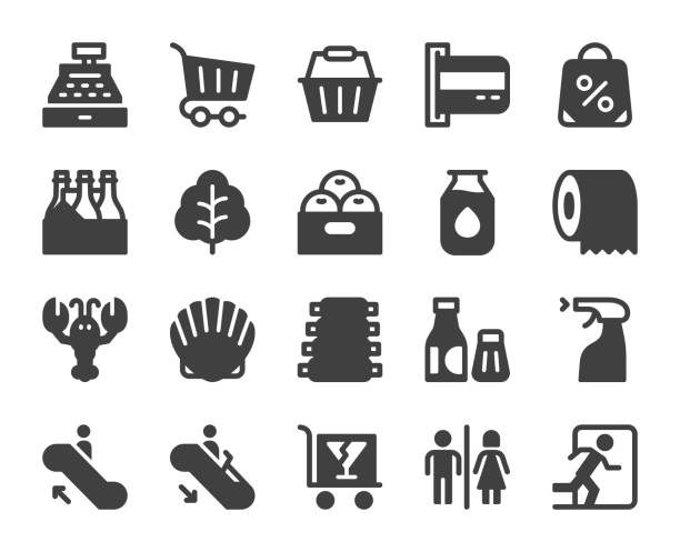 supermarket - icons - papier toaletowy stock illustrations