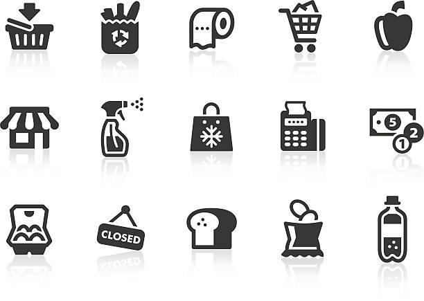 Supermarket icons Monochromatic supermarket related vector icons for your design and application. Raw style. Files included: vector EPS, JPG, PNG. bread clipart stock illustrations
