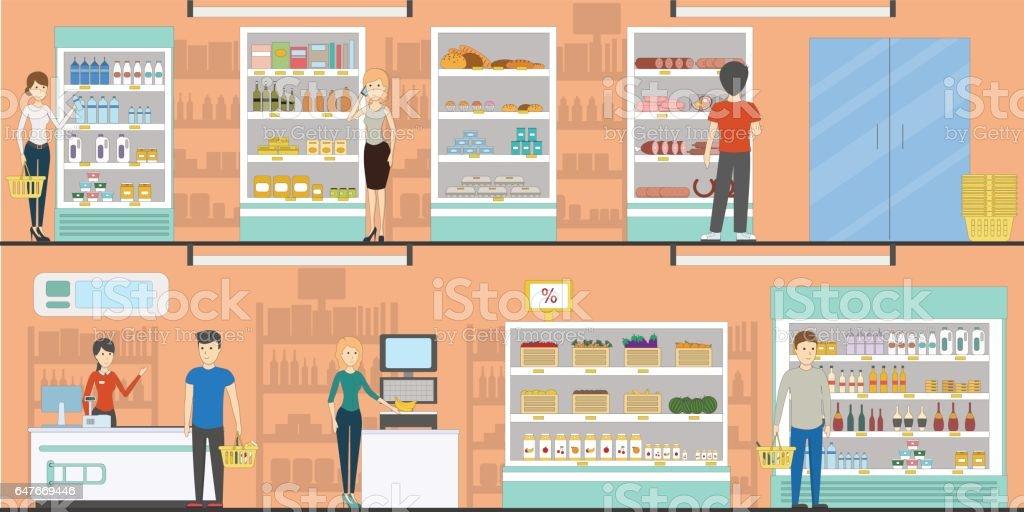 Supermarket idoors interior. vector art illustration