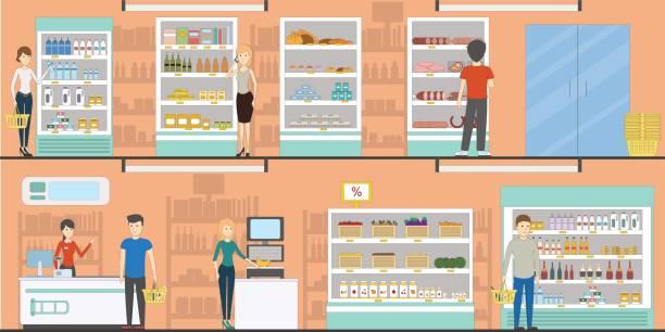 stockillustraties, clipart, cartoons en iconen met supermarkt idoors interieur. - warenhuis