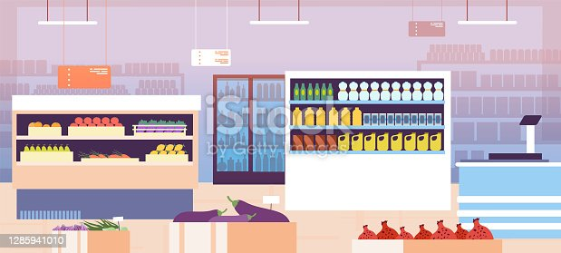 istock Supermarket interior. Empty shopping retail hall with food on shelves and refrigerator. Consumerism in grocery store vector concept 1285941010