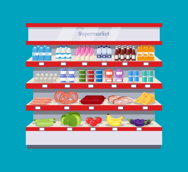 supermarket interior shelf Shop, supermarket interior shelf with fruits, vegetables, milk, eggs drinks, preserves Healthy food snack aisle stock illustrations