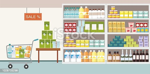 Supermarket interior with commodity product on shelf and shopping cart. Vector Illustration