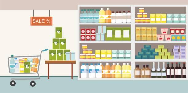 ilustraciones, imágenes clip art, dibujos animados e iconos de stock de interior supermercado con producto de materias primas en plataforma y cesta de compras - grocery store