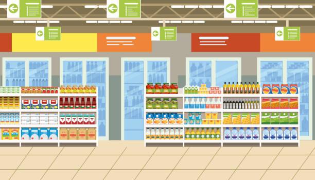 ilustrações de stock, clip art, desenhos animados e ícones de supermarket interior with food on shelves vector - prateleira compras