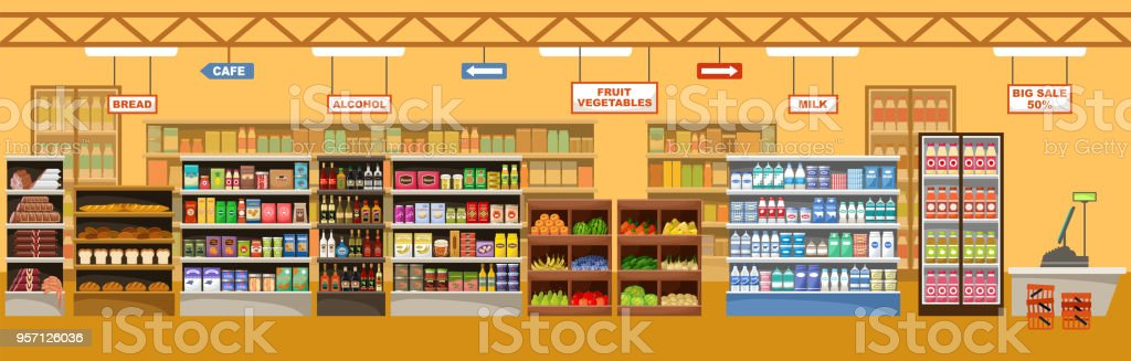 Supermarket interior with products