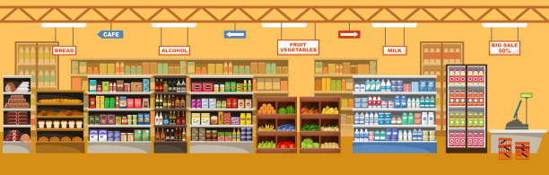 Supermarket interior with products Supermarket interior with products. Big store. Vector illustration for sale stock illustrations