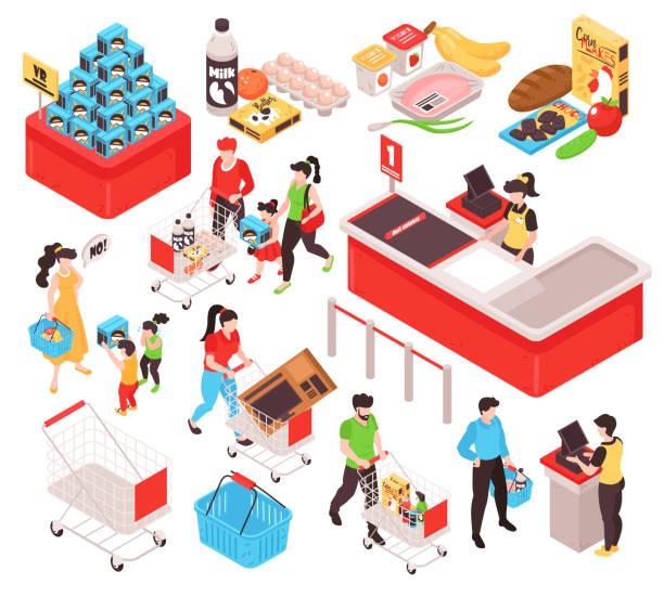 illustrazioni stock, clip art, cartoni animati e icone di tendenza di set isometrico del supermercato - banchi di pesci