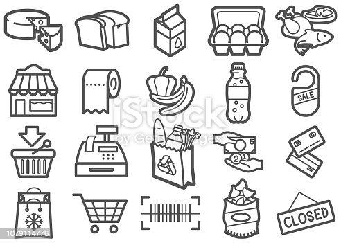 Supermarket line icons set