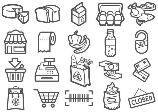 supermarkt zeile icons set - kassenbon stock-grafiken, -clipart, -cartoons und -symbole
