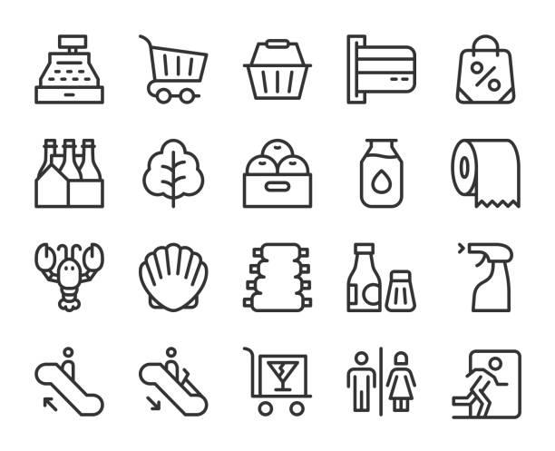 supermarket - line icons - kosz na zakupy stock illustrations