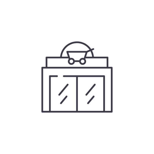 超市線性圖示概念。超市線向量符號, 符號, 插圖。向量藝術插圖