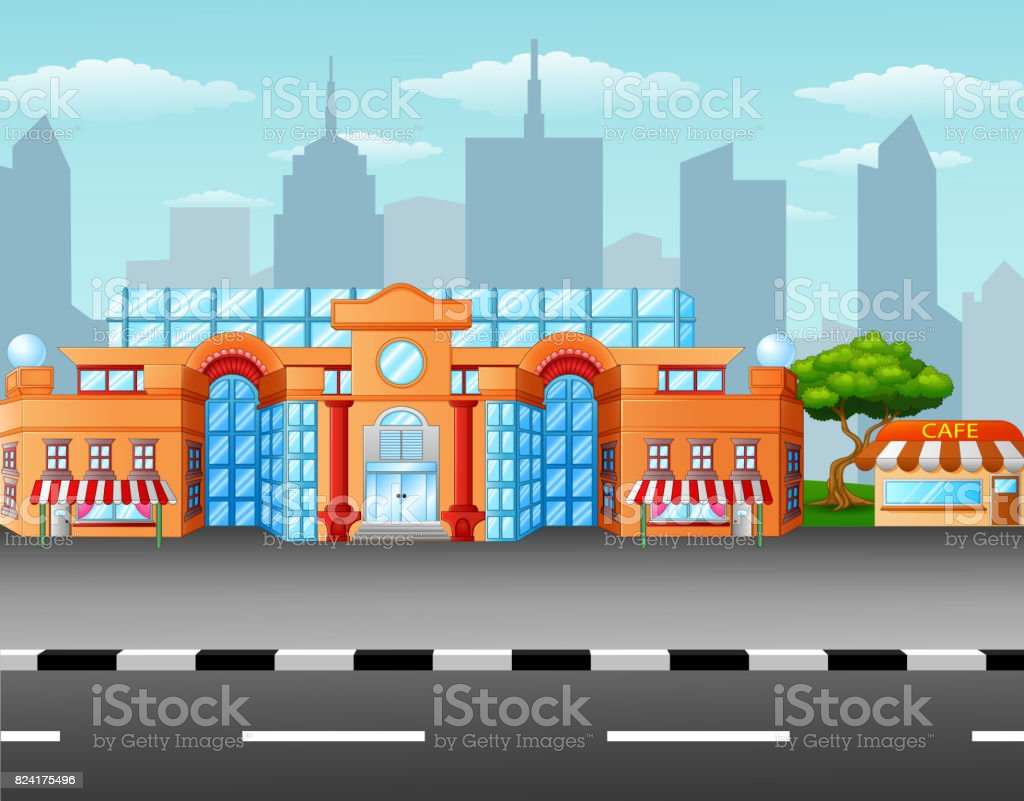 Supermarket on the roadside vector art illustration